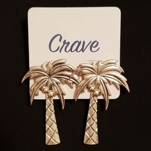 Gold Palm Tree Post Earrings